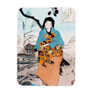クールな東洋の日本のクラシックな芸者の女性芸術 マグネット
