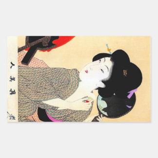 クールな東洋の日本のクラシックな芸者の女性芸術 長方形シール