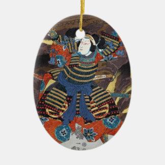 クールな東洋の日本の伝説の戦士の武士 セラミックオーナメント