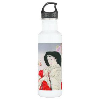 クールな東洋の日本の古い芸者の女性芸術 ウォーターボトル