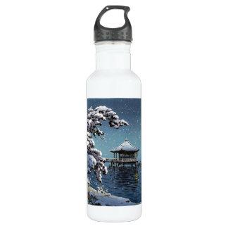 クールな東洋の日本の川の側面の冬場面芸術 ウォーターボトル