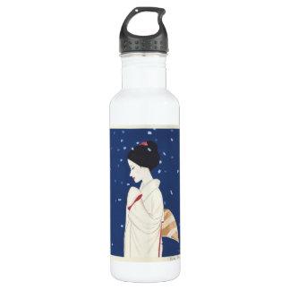 クールな東洋の日本の柔らかい芸者の女性芸術 ウォーターボトル