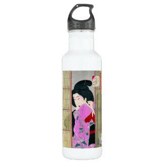 クールな東洋の日本の芸者のピンクの生地の芸術 ウォーターボトル
