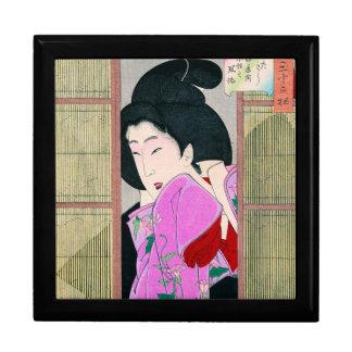 クールな東洋の日本の芸者のピンクの生地の芸術 ギフトボックス