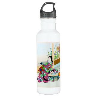 クールな東洋の日本のclasic芸者の女性芸術 ウォーターボトル