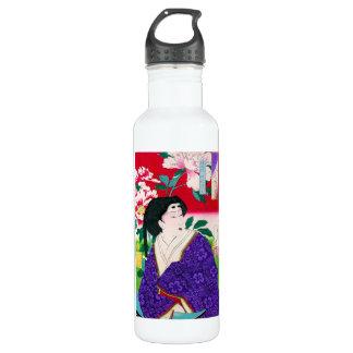クールな東洋の日本のwoodprintの芸者の女性芸術 ウォーターボトル