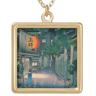 クールな東洋の日本人の笠松町夜通り雨 ゴールドプレートネックレス