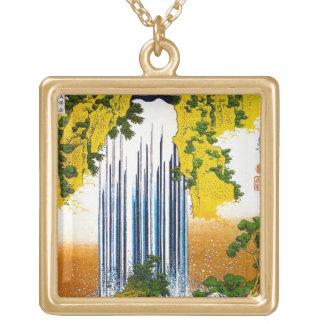 クールな東洋の日本人のHokusaiの滝の芸術 ゴールドプレートネックレス