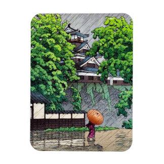 クールな東洋の日本人のKawaseの雨の日の通り マグネット