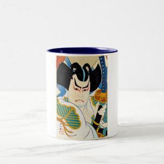 クールな東洋の日本人のShunsen Kabuki俳優の芸術 ツートーンマグカップ