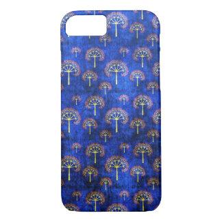 クールな東洋の青い日本人の抽象芸術の木のインディゴ iPhone 8/7ケース
