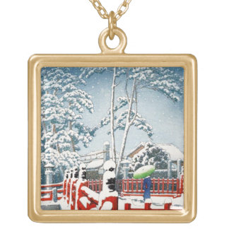 クールな東洋のHasui Kawaseの冬の景色の芸術 ゴールドプレートネックレス
