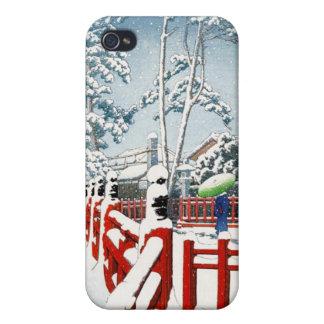 クールな東洋のHasui Kawaseの冬の景色の芸術 iPhone 4 Cover