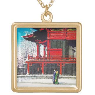 クールな東洋のKawase Hasuiの冬の雪の景色の芸術 ゴールドプレートネックレス