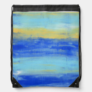 クールな水の青いTurquioseの航海のでグランジな芸術 ナップサック