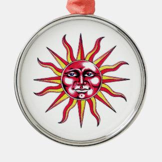 クールな漫画の入れ墨の記号の太陽神の顔 メタルオーナメント
