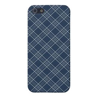 クールな濃紺および白の格子縞パターンギフト iPhone SE/5/5sケース