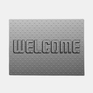 クールな灰色の金属の質の一見の歓迎 ドアマット