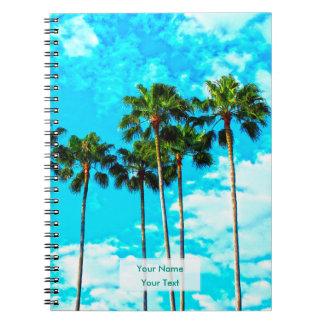 クールな熱帯ヤシの木の青空 ノートブック