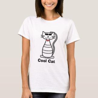 クールな猫のサングラスを持つかわいい漫画猫 Tシャツ