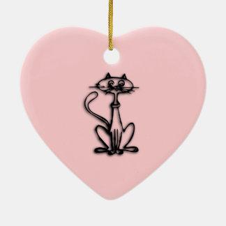 クールな猫のピンク セラミックオーナメント