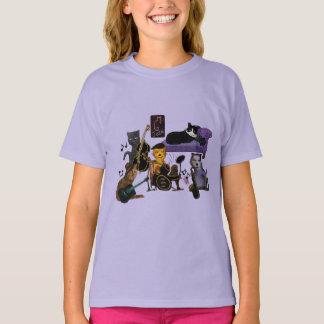 クールな猫の込み合い Tシャツ