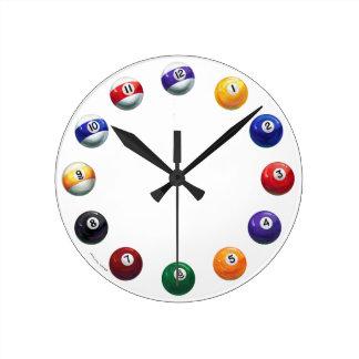 クールな玉突の玉の円形の柱時計 ラウンド壁時計