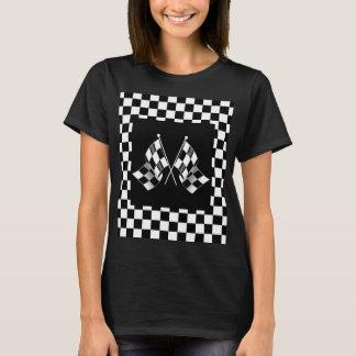 クールな白黒の方式1のチェック模様の旗パターン Tシャツ