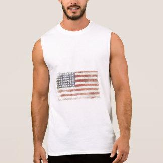 クールな米国の旗が付いている袖なしのティー 袖なしシャツ