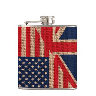 クールな米国の英国国旗はバーラップの質の効果に印を付けます フラスク