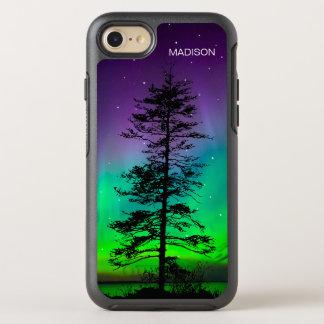 クールな紫色の青い銀河系はレッドウッドの木を主演します オッターボックスシンメトリーiPhone 7 ケース