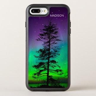 クールな紫色の青い銀河系はレッドウッドの木を主演します オッターボックスシンメトリーiPhone 8 PLUS/7 PLUSケース