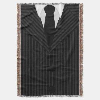 クールな細い縦縞のスーツおよびタイによって編まれるブランケット スローブランケット