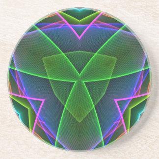 クールな緑のピンクの紫色のネオン抽象デザイン コースター