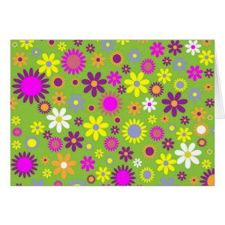 クールな花パターンカラフルなスクラップブック作りの緑 カード