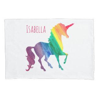 クールな虹の水彩画のユニコーンの美しい子供 枕カバー