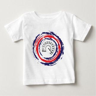 クールな速度の紋章(赤い青および白い) 2 ベビーTシャツ