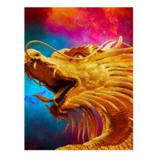 クールな金ドラゴンのカラフルなタイの背景 ポストカード