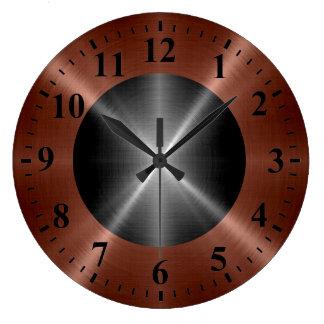 クールな青銅色の銀製のステンレス鋼の金属 ラージ壁時計