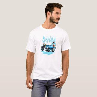 """""""クールな青""""は男性へピンナップのTシャツを改造しました Tシャツ"""