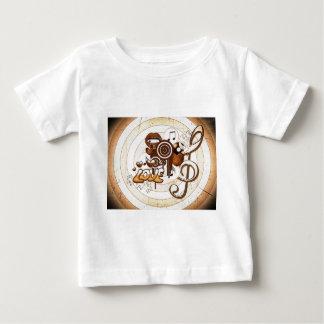 クールな音楽アイコンイメージのプリントの背景 ベビーTシャツ
