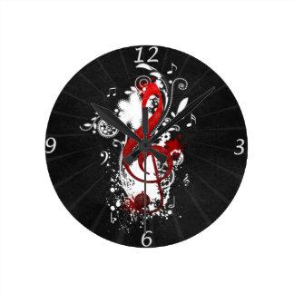 クールな音楽ノートの点々のあるな渦巻の花の(ばちゃばちゃ)跳ねる ラウンド壁時計