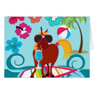 クールな馬のサーファーの男の夏のおもしろいのビーチのパーティー カード
