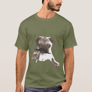 クールな髭のパパのパグのTシャツ Tシャツ