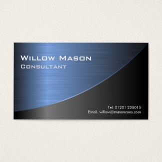 クールな黒によってブラシをかけられる青い鋼鉄効果バスカード 名刺