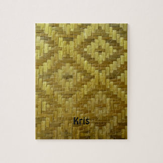 クールな3Dによって編まれる藤のダイヤモンドパターン名前をカスタムする ジグソーパズル