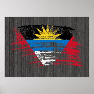 クールなAntiguanの旗のデザイン ポスター