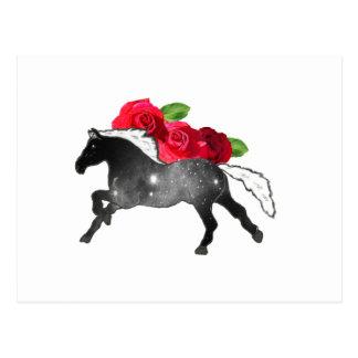 クールなGalazyの馬の黒 + バラが付いている白い星雲 ポストカード