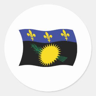 グアダループの旗のステッカー ラウンドシール