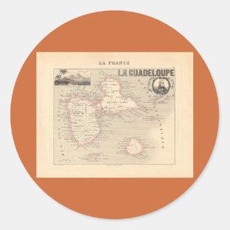 グアダループ部の1858地図、フランス ラウンドシール